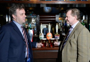 York Outer MP,Julian Sturdy, (dark suit),  was presented with his award as a Beer Champion by brewer, Simon Theakston on Friday afternoon at the Windmill in Dunnington, near York. picture mike cowling mar 27 2015